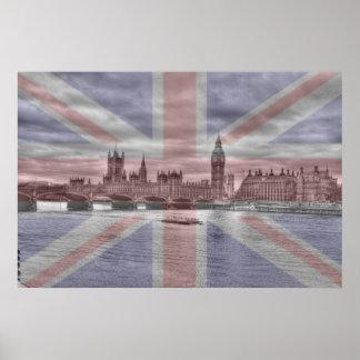 London Skyline Union Jack Flag Posters
