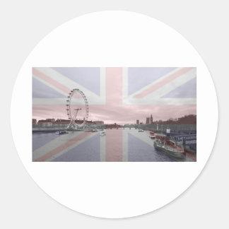 London Skyline Union Jack Flag Round Stickers