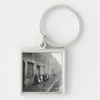 London Slums, c.1900 Silver-Colored Square Key Ring
