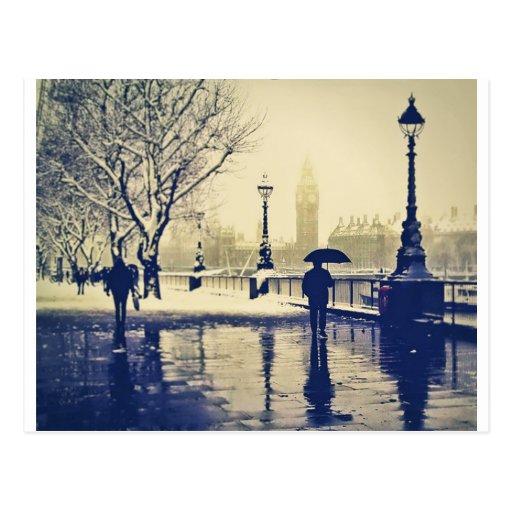 London south bank winter vintage shot postcards