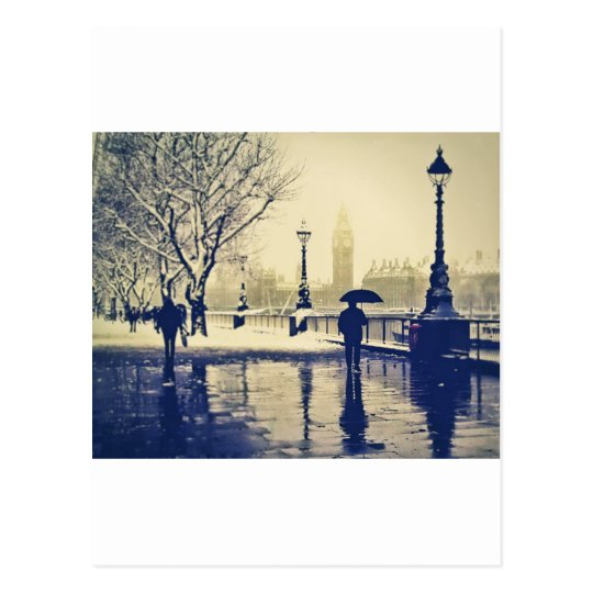 London south bank winter vintage shot postcard