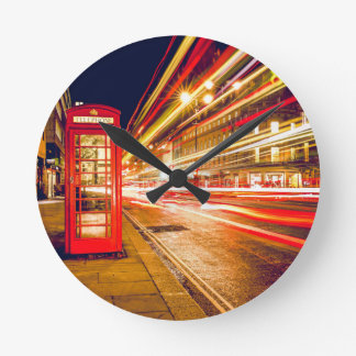 London Street at Night Round Clock