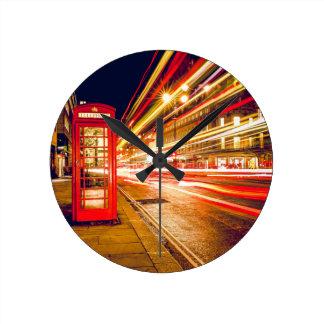London Street at Night Round Clock