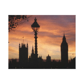 London Sunset Stretched Canvas Print