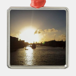 London Sunset Silver-Colored Square Decoration