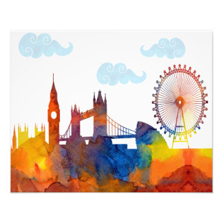 London Sunset Watercolor Abstract Skyline Print