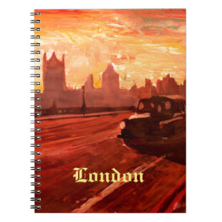 London Taxi Big Ben Sunset with Parliament Note Book