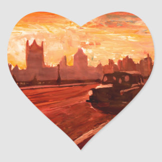 London Taxi Big Ben Sunset with Parliament Heart Stickers