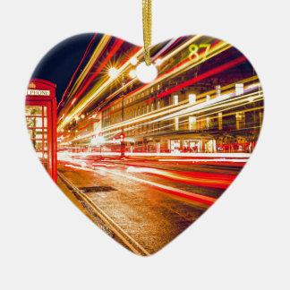 London Telephone Box at Night with Street Light Ceramic Heart Decoration