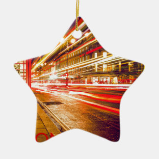 London Telephone Box at Night with Street Light Christmas Ornament