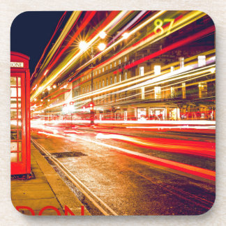 London Telephone Box at Night with Street Light Drink Coasters