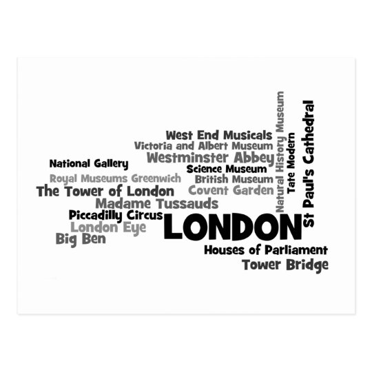 London Text Art Postcard