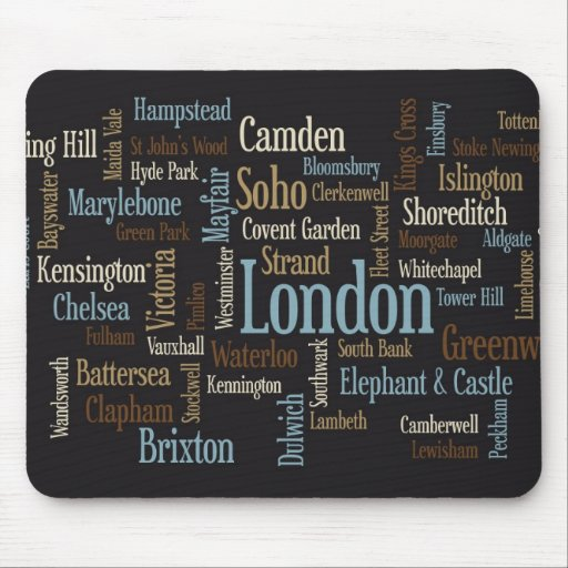 London Text Map Mouse Pads