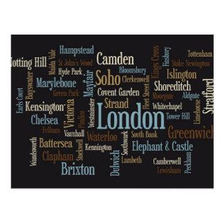 London Text Map Postcard