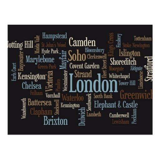 London Text Map Postcards