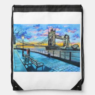 London Thames walk Drawstring Bag