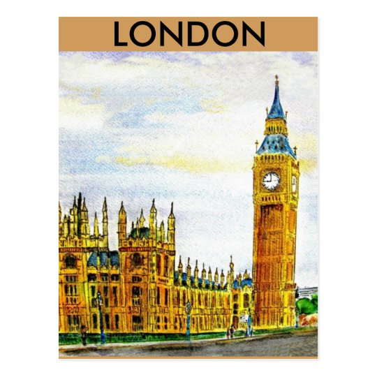London. The Houses of Parliament. Postcard