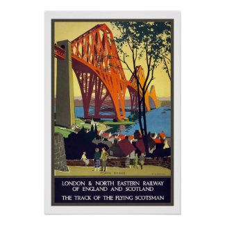 London to Scotland Vintage Travel Poster