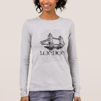 "London ""Tower Bridge"" Digital Typography Collage Long Sleeve T-Shirt"