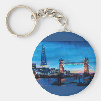 London Tower Bridge with The Shard Basic Round Button Key Ring