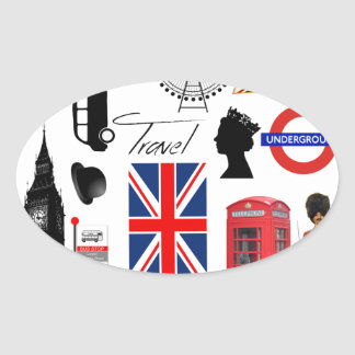 London Travel Collage Oval Sticker