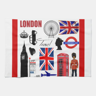 London Travel Collage Tea Towel