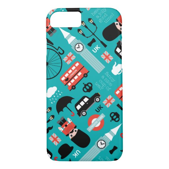 London travel icon retro illustration iPhone 8/7 case