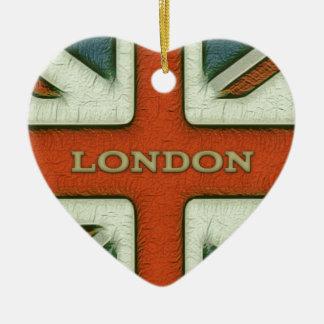London UK Flag Ceramic Heart Decoration