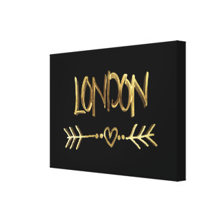 London UK Love Black and Gold Look Typography Canvas Print