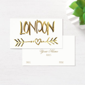 London UK Love Gold Look Typography Elegant Business Card