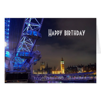 London UK  Night Landscape London Eye View Card
