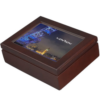 London UK Night Landscape London Eye View Keepsake Box