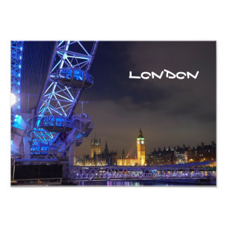 London UK  Night Landscape London Eye View Photo Print