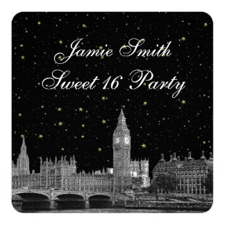 London UK Skyline Etched Starry DIY BG Sweet 16 Card
