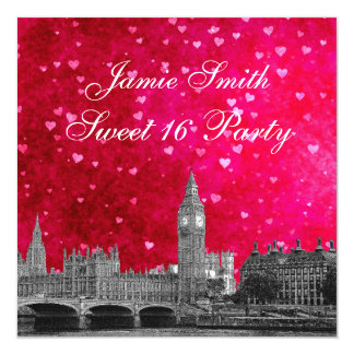 London UK Skyline Hot Pink Red Heart Sweet 16 13 Cm X 13 Cm Square Invitation Card