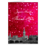 London UK Skyline Hot Pink Red Heart Thank You Greeting Cards