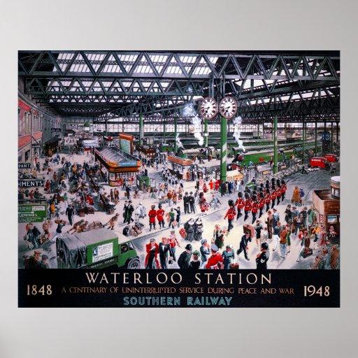 LONDON WATERLOO STATION CENTENARY 1947 POSTER