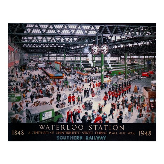 LONDON WATERLOO STATION CENTENARY 1947 POSTER