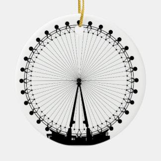London Wheel Silhouette Round Ceramic Decoration