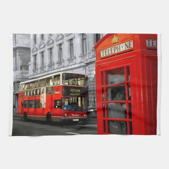 london with a touch of colour tea towel