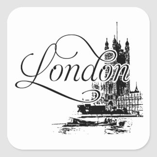 London with Parliament and Thames Square Sticker