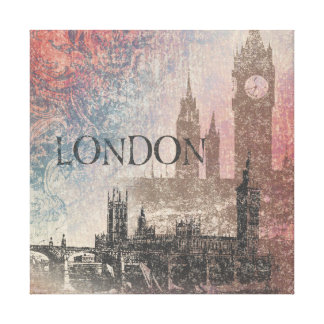 London with Parliament Red and Blue Vintage Canvas Print
