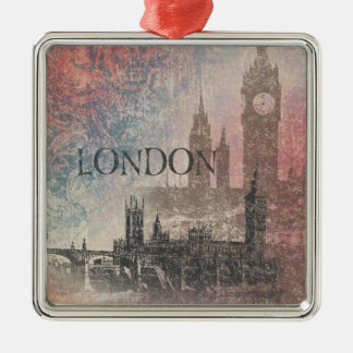London with Parliament Red and Blue Vintage Christmas Ornament