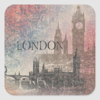 London with Parliament Red and Blue Vintage Square Sticker