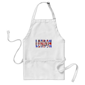 London Word With Flag Texture Adult Apron