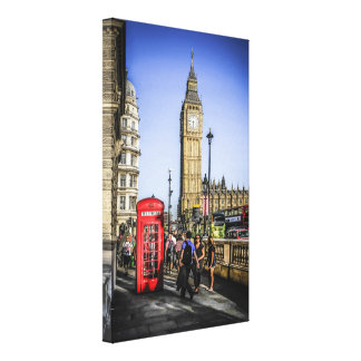 Londone Red Telephone Box in Westminster Stretched Canvas Prints