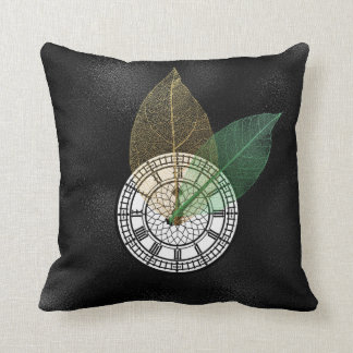 Londoner Big Ban Clock Black White Leaf Throw Pillow