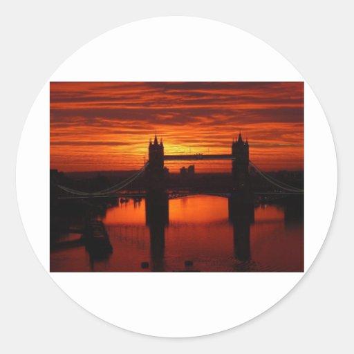 London's Tower Bridge at Daybreak Round Stickers