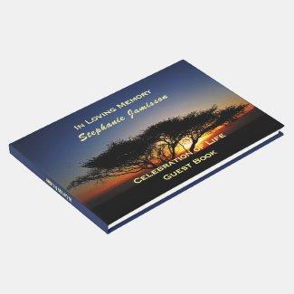 Lone Acacia Tree at Sunrise, Celebration of Life Guest Book