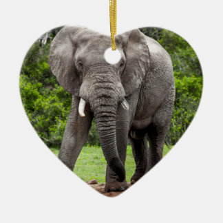 Lone African elephant bull. Ceramic Heart Decoration